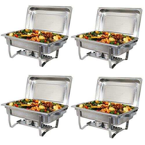 Super Deal Stainless Steel 4 Pack 8 Qt Chafer Dish w/ Water Pan, Food Pan, Lid