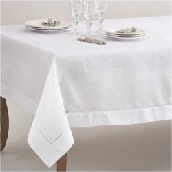 White Classic Hemstitch Border Design Tablecloth (70″x160″) – Saro Lifestyle