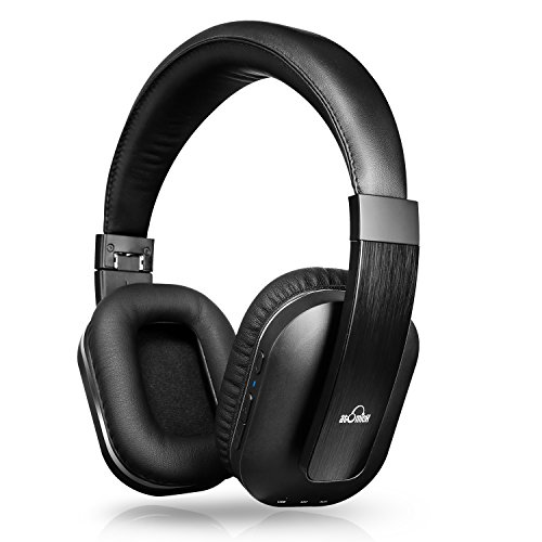 iVid Active Noise Cancelling Headphones, iDeaUSA Bluetooth Headphones with Microphone apt-X HiFi Stereo Sound Headphones for TV, Airplane, 25 Hours Playback – Black
