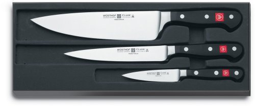 Wüsthof – Three Piece Cook's Set – 3 1/2″ Paring Knife, 6″ Utility Knife, and 8″ Cook's Knife (9608)