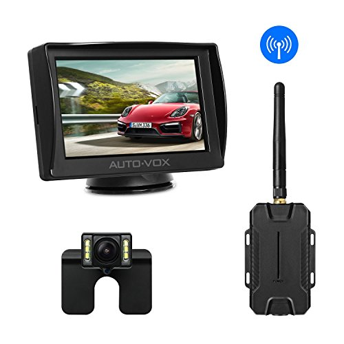 """AUTO-VOX M1W Wireless Backup Camera Kit,IP 68 Waterproof LED Super Night Vision License Plate Reverse Rear View Back Up Car Camera,4.3"""" TFT LCD Rearview Monitor for Vans,Camping Cars,Trucks,RVs"""