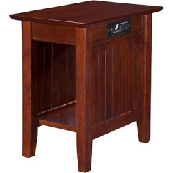 Nantucket Chair Side Table with Charger – Walnut (Brown) – Atlantic Furniture