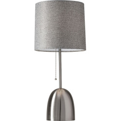 Adesso Lola Steel Finish Table Lamp, Grey