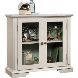 New Grange 2 Door Tempered Glass Display Cabinet – Cobblestone – Sauder
