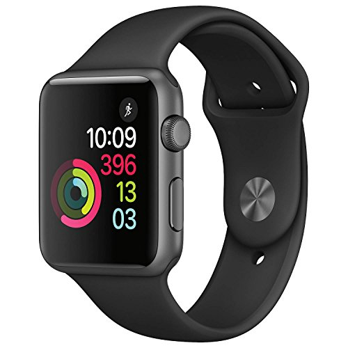 New Apple Series 1 Watch for iPhone – Space Gray Aluminum Case with Black Sport Band (42 MM)