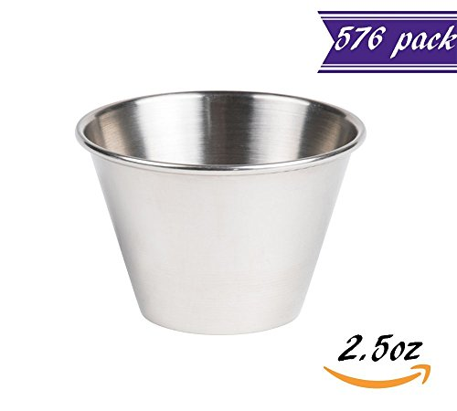 (576 Pack) Stainless Steel Sauce Cups 2.5 oz, Commercial Grade Dipping Sauce Cups, Individual Condiment Sauce Cups/Ramekins by Tezzorio