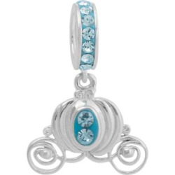 Disney Princess Cinderella Crystal Sterling Silver Carriage Charm, Women's, Blue