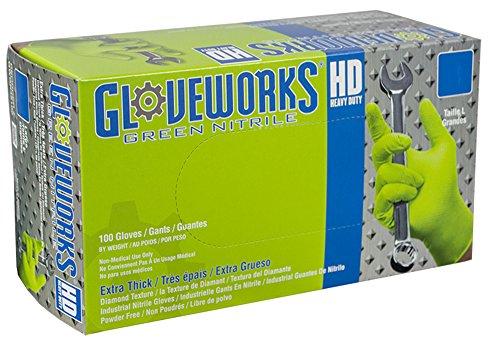 AMMEX – GWGN44100-BX – Nitrile Gloves – Gloveworks – Disposable, Powder Free, 8 mil, Medium, Green (Box of 100)