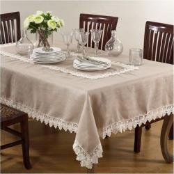 Taupe (Brown) Lace Trimmed Tablecloth (65″x180″) – Saro Lifestyle