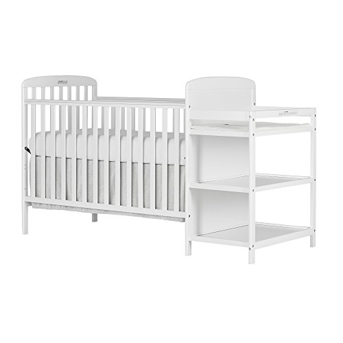 Dream On Me, 4 in 1 Full Size Crib and Changing Table Combo, White