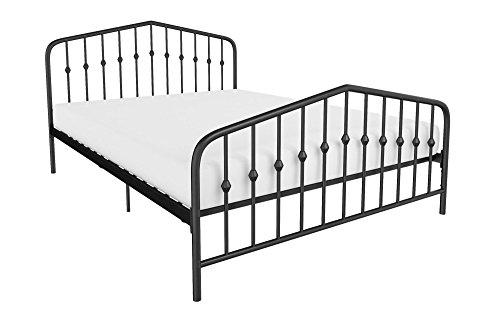 Novogratz Bushwick Metal Bed, Modern Design, Full Size – Black