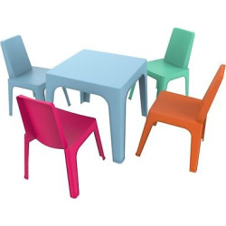 Julieta 5pc Square Kids Table and Chair Set – Blue Table w/Assorted Chairs