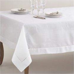 White Classic Hemstitch Border Design Tablecloth (70″x120″) – Saro Lifestyle