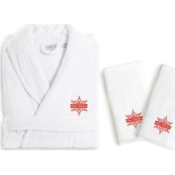 Linum Home Textiles Holiday Embroidered Luxury Hand Towel & Bathrobe Set, White