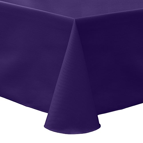 Ultimate Textile (5 Pack) Poly-cotton Twill 60 x 84-Inch Oval Tablecloth – for Home Dining Tables, Purple