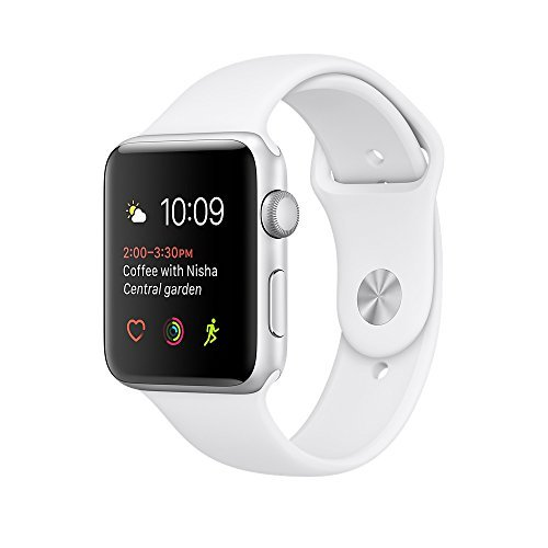 Apple watch series 2 42mm ALUMINUM Case SPORT (Silver Aluminum Case with White Sport Band)