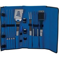 Chef Buddy Stainless Steel 20-pc. Barbecue Tool Set, Blue