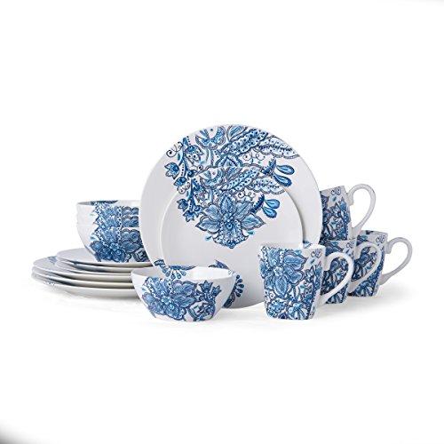 Pfaltzgraff 5229618 Arden 16-Piece Porcelain Dinnerware Set, Service for 4, Blue/White