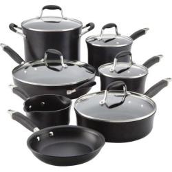Anolon Advanced Hard-Anodized Nonstick 12-Piece Cookware Set, Black