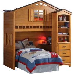 Tree House Kids Loft Bed – Rustic Oak(Twin) – Acme
