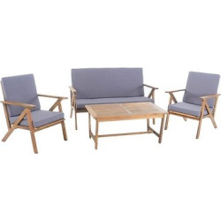 Panama 4pc Acacia Wood Chat Set – Teak (Brown) Finish – Christopher Knight Home