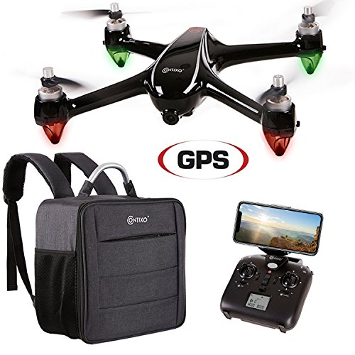 Contixo F18 Quadcopter Drone | Brushless Motors 1080p HD Live Video Built-In Camera Hobbyist Photographers GPS Flying RC Drone FPV WiFi RTH +Free Carrying Backpack ($50 Value)