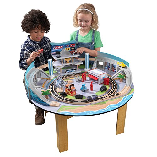 KIDKRAFT DisneyPixar Cars 3 Florida 55+ Piece Wooden Track Set with Accessories and Table