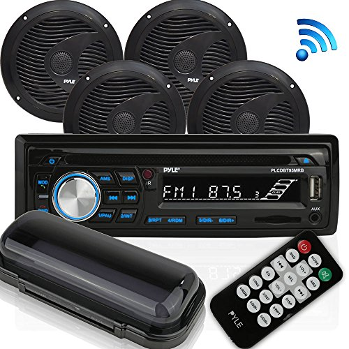Wireless Bluetooth Marine Audio Stereo – Kit w/Single DIN Universal Size Radio Receiver, Hands-Free Calling, 6.5″ Waterproof Speakers, CD Player, MP3/USB/SD Readers & AM/FM Radio – Pyle PLCDBT95MRB