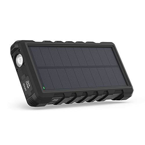 Solar Charger RAVPower 25000mAh Outdoor Portable Charger with Micro USB & USB C Inputs, Quick Charge Solar Power Bank with 3 Outputs, External Battery Pack with Flashlight – Shock, Dust & Waterproof