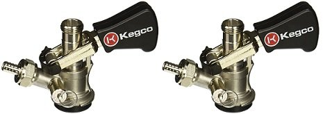 Kegco KC KTS97D-W D System Keg Tap with Black Lever Click Handle, Stainless Steel (2-Pack)