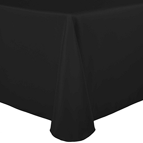 Ultimate Textile (10 Pack) 70 x 104-Inch Oval Polyester Linen Tablecloth – for Home Dining Tables, Black