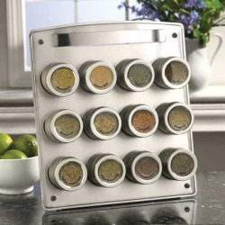 Kamenstein Magnetic 12-Tin Magnetic Spice Rack, Silver