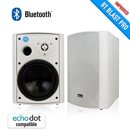 Wireless Outdoor Speakers, Bluetooth 6.50″ Indoor/Outdoor Weatherproof Patio Speakers,White, Pair, by Sound Appeal