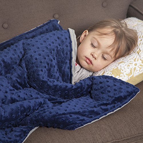 Roore 5 lb Children's (for 50lb individual) 36″x48″ Navy Blue and Gray Weighted Blanket with Dotted Minkey Cover. Fall Asleep Faster Perfect for kids with Anxiety OCD Stress ADHD Autism