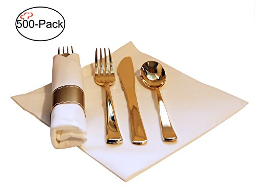 Tiger Chef 500-Pack 16-inch Pre Rolled Cutlery in Linen-Feel White Napkins and Gold Heavy Weight Plastic Silverware with Napkin Band Set, Includes Forks, Spoons and Knives in Rolled Napkins BPA-free