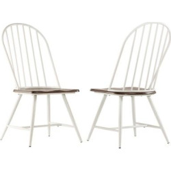 Juniper Lane Mixed Media Windsor Dining Chair Metal/White/Dark Oak (Set of 4) – Inspire Q