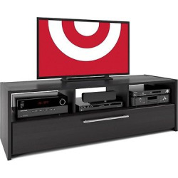 Naples TV Stand Bench with Pull Down Storage Black 65 – CorLiving