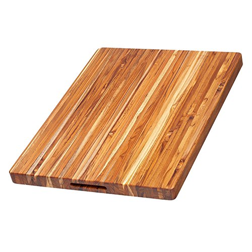 Teak Cutting Board – Rectangle Carving Board With Hand Grip (24 x 18 x 1.5 in.) – By Teakhaus