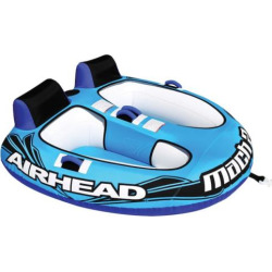 Airhead Mach 2 Inflatable Double Rider Towable Water Tube, Multicolor