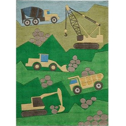 Construction Zone Accent Rug Green (3'x5′)
