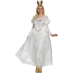 Women's Alice In Wonderland White Queen Deluxe Costume Medium