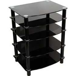Glass Metal Media Audio Component Stand – Black – Saracina Home