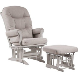 Dutailier Sleigh Glider with Nursing Ottoman – White/Light Gray