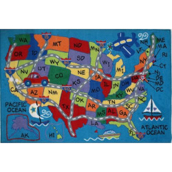 Fun Rugs Fun Time Travel Fun Map Rug – 2'7 x 3'11, Multicolor