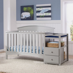 Delta Children Abby Convertible Crib N Changer, Grey
