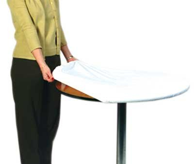 "Kwik-Cover 72-W 72"" Round Kwik-Cover- White Fitted Table Cover (1 full case of 50)"
