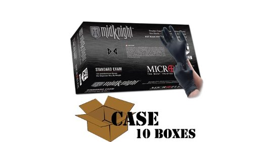 Microflex – Black MidKnight Nitrile Gloves-Case – Size: Small