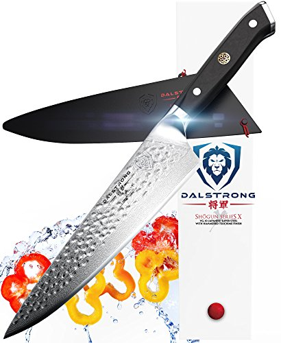 DALSTRONG Chef's Knife – 10.25″ – Large – Shogun Series X Professional Gyuto – Japanese AUS-10V (Vacuum Heat Treated) 67-Layers – Hammered Finish – Sheath