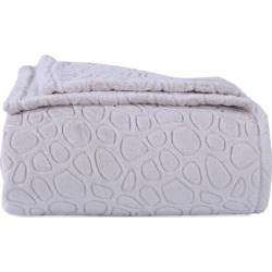 Better Living Plush Embossed Circles Blanket, White