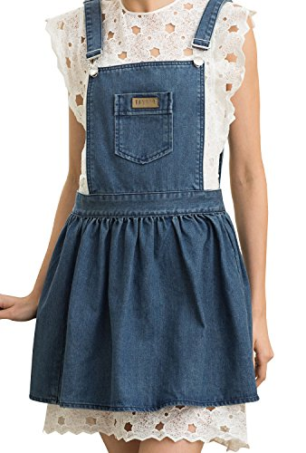 VANTOO Chef Bib Apron by Cute Denim Uniform Pinafore Apron with Shoulder Strapes for Restaurant Home Restaurant Coffee Shop Salon Art Painting Use,Blue